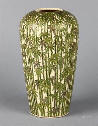 Japanese Ceramic Vase with Bamboo