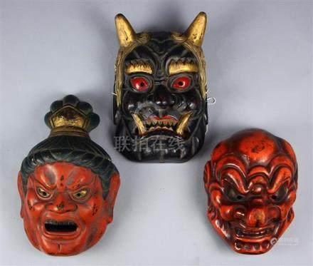 Japanese Lacquered Wooden Masks, Spirits, Devil