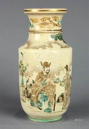 Japanese Rouleau Form Satsuma Vase, Figures