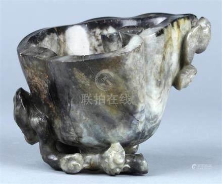 Chinese Gray Jade Vessel, Lingzhi and Bat