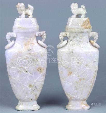 Chinese Jadeite Urns, Birds-and-Flowers