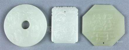 Three Chinese Jade Plaques