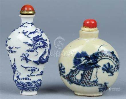 Chinese Porcelain Snuff Bottles, Blue Dragons