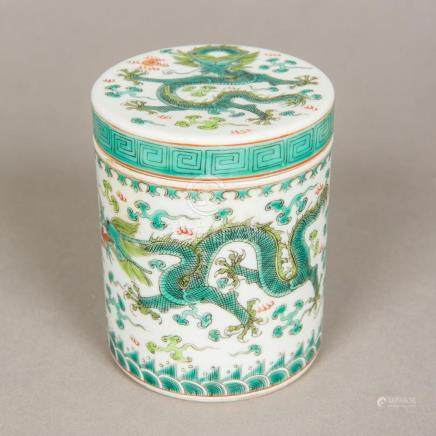 An ''Imperial'' Chinese famille verte porcelain pot and cove
