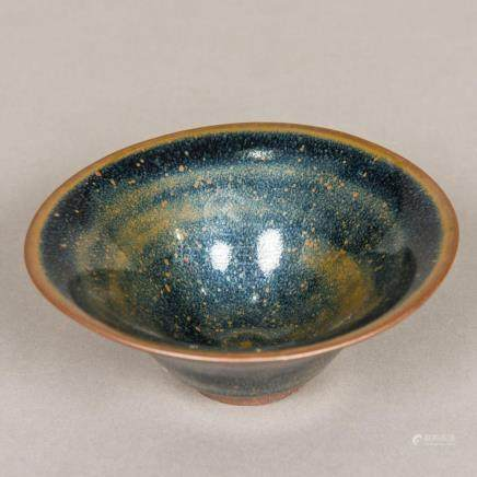 A Chinese porcelain bowl Of flared form, with Jian ware glaz