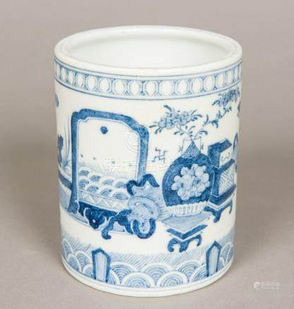 A Chinese blue and white porcelain brush pot Of circular sec