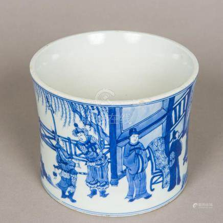 A Chinese blue and white porcelain brush pot Of gently flare