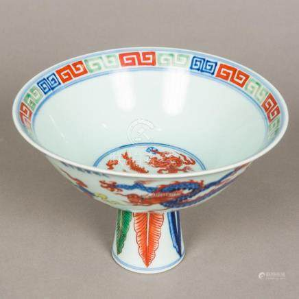 A Chinese Wucai porcelain stem bowl Worked with five-clawed