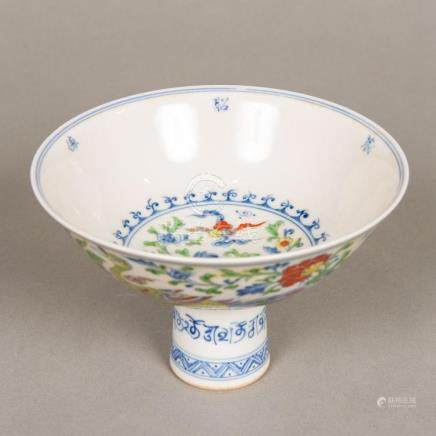 A Chinese Wucai porcelain stem bowl Worked with exotic birds