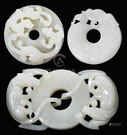 Three Carved Jade Bi Discs