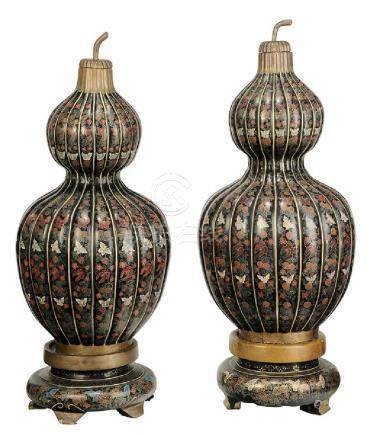 Monumental Pair of Asian Lacquered Double Gourds on