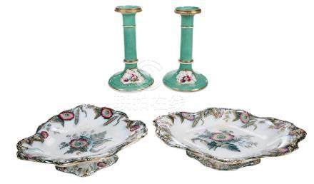 Four Pieces Floral Decorated Porcelain