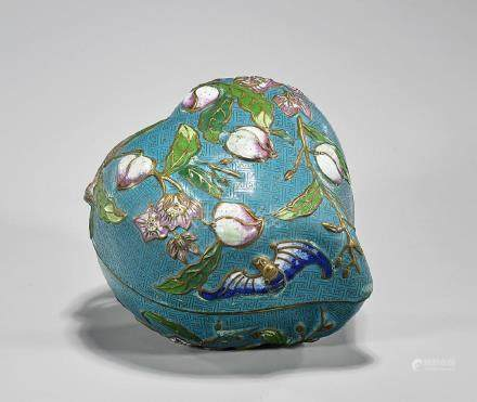Chinese Cloisonne Peach-Form Covered Box