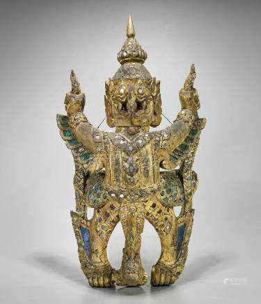 Old Thai Gilt & 'Jeweled' Wood Figure of Garuda