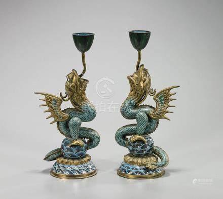 Pair Chinese Cloisonne Enamel & Gilt Bronze