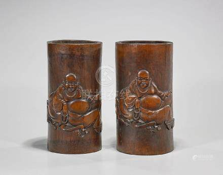 Pair Chinese Carved Bamboo Brushpots
