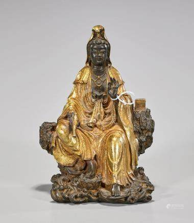 Chinese Parcel-Gilt Bronze Figure of Guanyin