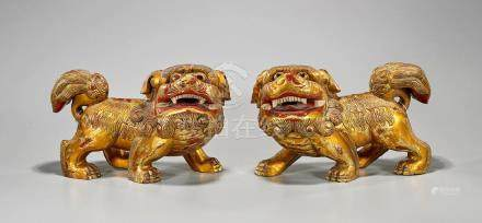 Pair Chinese Gilt & Lacquered Wood Fo Lions