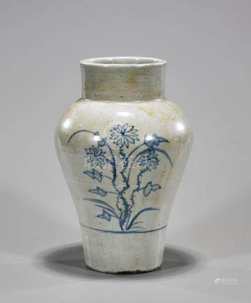 Antique Korean Blue & White Porcelain Vase