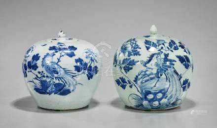 Pair Antique Chinese Celadon, Blue & White Porcelain