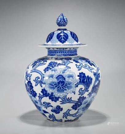 Large Chinese Blue & White Porcelain Covered Vase