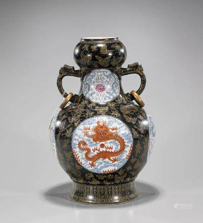 Chinese Enameled Porcelain Dragon Vase