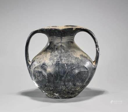 Chinese Han Dynasty Black Glazed Amphora