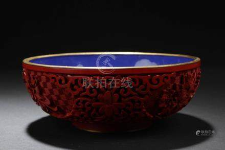 Antique Chinese Cinnabar Lacquer Porcelain Bowl