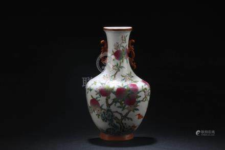 Chinese Famille Rose Peach Vase