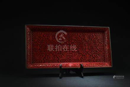 Chinese Carved Red Lacquer Tray