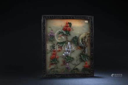 Chinese Stone Screen with Gemstone Inlay