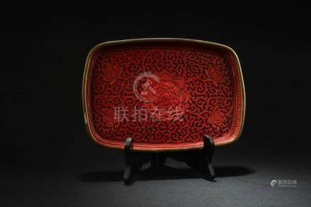 Chinese Carved Red Lacquer Dish