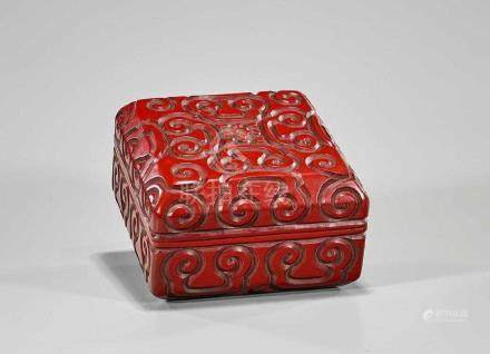 Chinese Cinnabar Lacquer Square Container