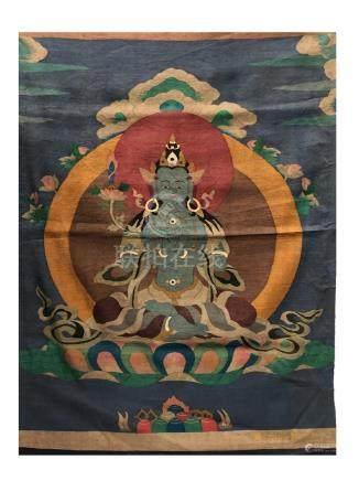 A Chinese Tibetan Brocade Thangka