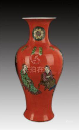 RED GLAZED CHARACTER PAINTED GUAN YIN PORCELAIN VASE