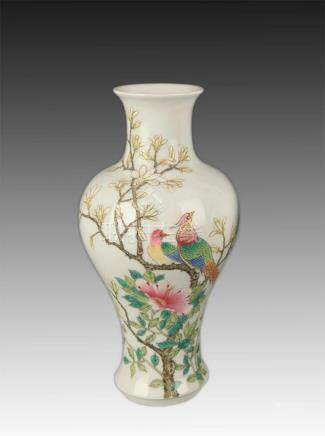 A FAMILLE ROSE PEONY AND BIRD PATTERN VASE