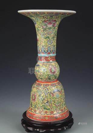YELLOW GROUND ENAMEL COLOR PORCELAIN FLOWER JAR