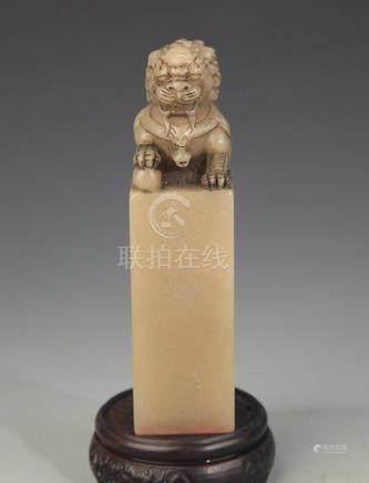 SHOU SHAN SHI, SOAPSTONE LION TOP SEAL
