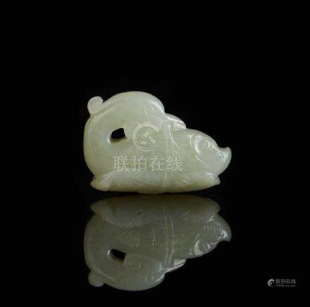 CHINESE CELADON JADE CARVED DUCK