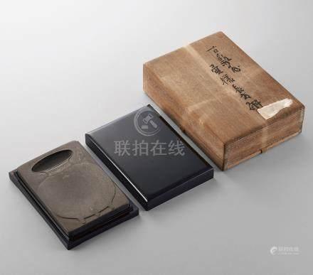 清中期 歙石青铜壶池砚