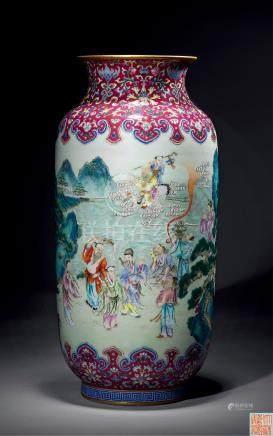 清乾隆 胭脂红地粉彩八仙庆寿图灯笼瓶