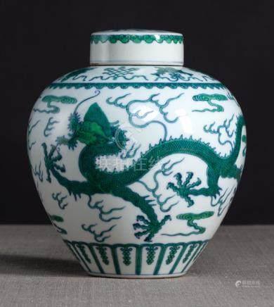 A FINE UNDERGLAZE-BLUE AND GREEN-ENAMELLED 'DRAGON' JAR, China, Qianlong six-character seal mark in