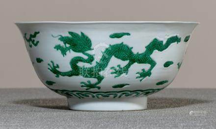 A FINE AND RARE IMPERIAL GREEN DRAGON PORCELAIN BOWL, China, underglaze blue Kangxi six-character ma