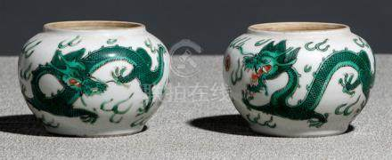 A PAIR OF GREEM-DRAGON PORCELAIN JARS, China, iro-red Daoguang sealmarks and period - One jar with s