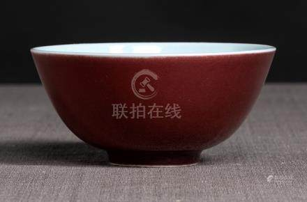 A FINE COPPER-RED IMPERIAL PORCELAIN BOWL, China, underglaze blue Yongzheng six-character mark and p