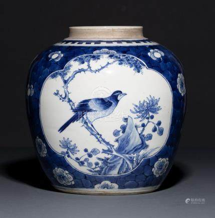 A BLUE AND WHITE BIRD AND PLUM BLOSSOM JAR, China, 19th ct. With two quatrefoil cartouches showing b