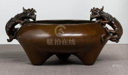 A VERY RARE LARGE IMPERIAL BRONZE DRAGON CENSER, China, Qianlong six-character seal mark and of the