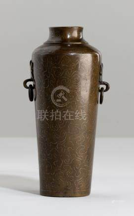 A SILVER-INLAID BRONZE VASE, China, marked Shisou, 18th ct. The body of slightly tapering shape with