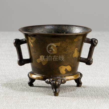 A GOOD GOLD-SPLASHED BRONZE TRIPOD CENSER, China, cast Xuande six-character mark, 18th ct. - Minor w