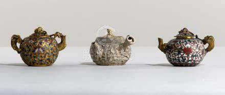 THREE SMALL WINE POTS, China, 19th ct. One porcelain pot with molded abstract decoration, one cloiso